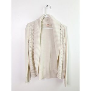 Mossimo Ivory Cable Knit Open Front Cardigan